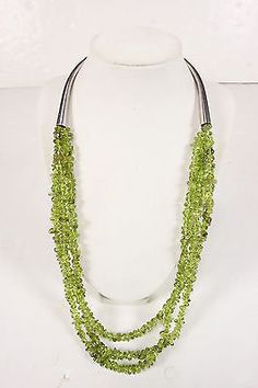 Vtg Rough Cut Polished Peridot Necklace Sterling Curved Ends Triple St - RoofTop Antiques