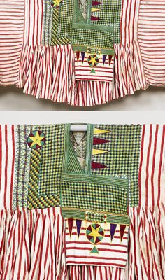 Africa | Embroidered tunic from the Hausa people of Nigeria | Red and white striped cotton; with upper section densely embroidered on each side with a lattice design and medallions in shades of green, yellow, red and purple cotton