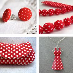 Red Dotted Earrings, Fabric and BeadsNecklace, Recycled Tin Mini Dress Necklace, Polka Clutch.