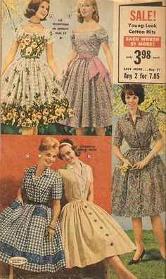 Day dress shirtwaist shirt fulll skirt gingham plaid floral print blue white yellow pink summer casual color illustration print ad 1950s 50s _FLORIDA Fashions2 _catalogue | Flickr - Photo Sharing!