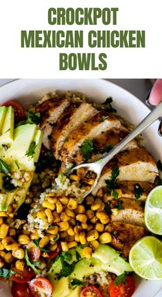 Easy Crock Pot Chicken Burrito Bowls are an easy way to enjoy a Mexican feast on even busy nights! Chicken Burrito Bowl, Burrito Bowls, Key Food, Incredible Recipes, Mexican Chicken, Healthy Salad Recipes, Crock Pot, Stuffed Peppers, Cooking