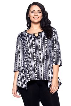 PLUS SIZE 1XL 2XL 3XL 4XL Womens Tunic Top HOT GINGER Black Tribal ¾ Sleeves Key #HotGinger #Tunic #Casual
