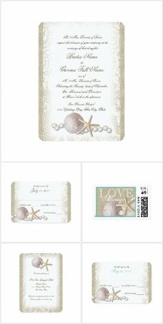 Pearls and Lace Vintage Beach Wedding. Pearls and Lace over rustic burlap and accented with starfish and seashells, a romantic vintage inspired wedding invitation design set for a lovely beach wedding. #ad