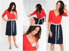 Stillmode - MANIA Stillkleid Femme rot-navy - ein Designerstück von Mania-Stillmode bei DaWanda
