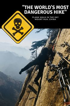 """Video of """"The World's Most Dangerous Hike"""" plus step-by-step directions for get to """"Plank Walk in the Sky"""" at Mount Hua, China. Hiking Guide, Best Hikes, China Travel, Future Travel, Holiday Travel, Travel With Kids, Where To Go, Plank, Adventure Travel"""