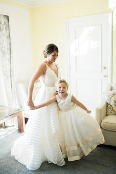 Preppy and Nautical Boathouse Wedding – Elleson Events – Trenholm Photo 24 Fall Wedding Gowns, Floral Wedding Gown, Modest Wedding Gowns, Wedding Gowns With Sleeves, Dress Attire, Little White Dresses, Plus Size Wedding, Perfect Wedding, Flower Girl Dresses