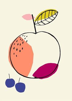 Fruit illustration, Susan Driscoll surface pattern design What i like about this work, is that it uses only 5 colors in this simple illustration Art And Illustration, Pattern Illustration, Illustrations And Posters, Graphic Design Illustration, Papier Kind, Art Watercolor, Design Poster, Grafik Design, Surface Pattern Design