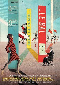 """Posters for the festival """"Sous la plage… Le Bal"""", in Paris. (A.D. : Lola Duval)"""