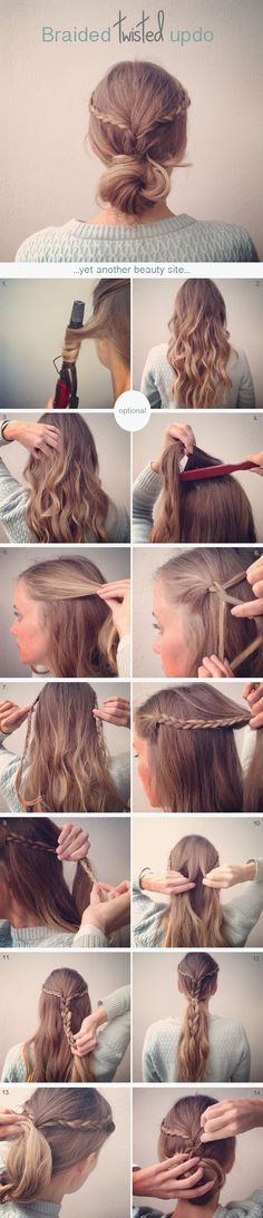 DIY Hairstyles: Another simple and easy to do hairstyle - The Braided Twisted Updo. A simple and stylish way to dress long hair for any age Evening Hairstyles, Diy Hairstyles, Pretty Hairstyles, Straight Hairstyles, Easy Hairstyle, Hairstyle Ideas, Hairstyle Tutorials, Love Hair, Gorgeous Hair
