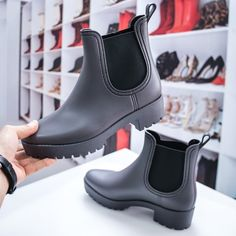 Cizme dama din cauciuc gri Harlite -rl Leather Shoes, Rubber Rain Boots, Chelsea Boots, Ankle, Navy, Winter, Casual, Kids, Black