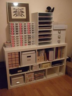 Organisation idea for art/craft stuff - I would probably try to make it match! Scrapbook Storage, Scrapbook Organization, Craft Organization, Office Organisation, Scrapbook Rooms, Scrapbook Photos, Scrapbook Supplies, Space Crafts, Home Crafts
