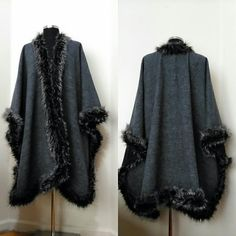 High Fashion Poncho Cold Weather Thick Poncho - Women Winter Long Coat - Gray Poncho with Silver Faux Fur Trim - Handmade Cape - #etsyspecialt #integritytt