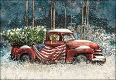Christmas Card 74798 - All the old-fashioned, heartwarming… Christmas Red Truck, Boxed Christmas Cards, Cowboy Christmas, Christmas Scenes, Country Christmas, Christmas Pictures, Christmas Art, Winter Christmas, Christmas Windows