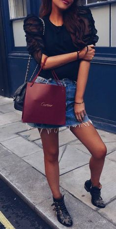 how to wear with a denim skirt : lace blouse + bag + boots
