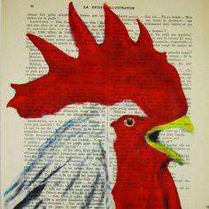 Shouting rooster- ORIGINAL ARTWORK Mixed Media, Hand Painted  on 1920 famous Parisien Magazine 'La Petit Illustration'
