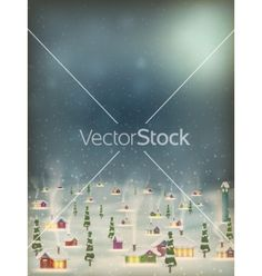 Merry christmas retro postcard village eps 10 vector  by beholdereye on VectorStock®