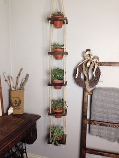 Rustic Wood Tiered Hanging Planter