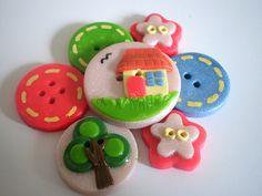 Summer Home Handmade Polymer Clay Button
