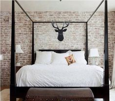 How to White Wash Brick {Bathroom Update} - Beneath My Heart White Wash Brick, White Brick Walls, Exposed Brick Walls, Acid Wash Brick, White Bricks, Black Brick, Wood Canopy Bed, Wooden Canopy, Fabric Canopy
