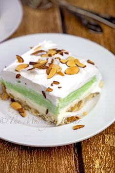 PISTACHIO LUSH Prepare yourself for a nut-TASTIC taste sensation in this pistachio flavored dessert. Very easy to make! Believe me when you want an easy and delicious dessert you MUST … Pudding Desserts, Köstliche Desserts, Delicious Desserts, Dessert Recipes, Yummy Food, Cherry Desserts, Italian Desserts, Bar Recipes, Noodle Recipes
