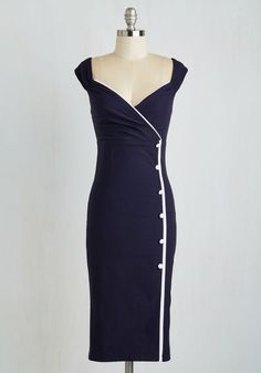 Weekly Write-up Dress in Navy. The reports are in - this navy sheath dress is nothing but good news! #blue #modcloth