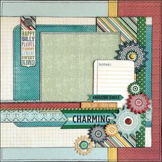 CHARMING A layout for a photo of your boy, brothers, cousins, father and son, children, etc. It was created with the heavy My Minds Eye papers from