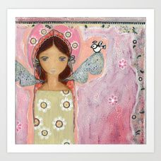 Angel with Little Bird by Flor Larios Art Print