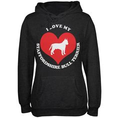 Valentines I Love My Staffordshire Bull Terrier Heather Juniors Soft Hoodie
