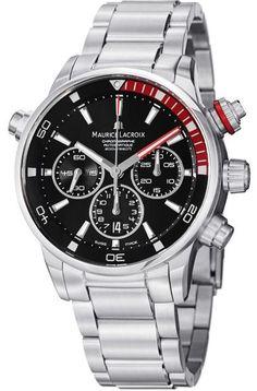 Men watches : Maurice Lacroix Men's PT6018-SS002330 Pontos Black Chronograph Dial Watch