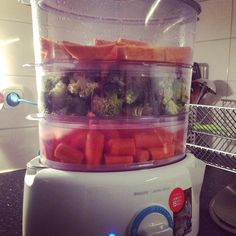 Preparing my veggies and sweet potato with Jamie Oliver's steamer. #mealprep #mealprepsunday #jamieoliver by marcobouten_90