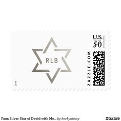 Faux Silver Star of David with Monogram Postage - monogram gifts unique design style monogrammed diy cyo customize