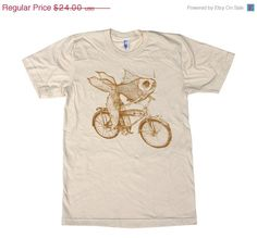 ON SALE Goldfish on a Bicycle - Fine Jersey Mens T Shirt