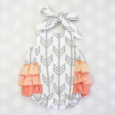 Coral and gray arrow ruffle sunsuit