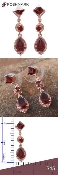 Mozambique Garnet 14K RG Over 925SS Earrings NEW Retail $109.99 Mozambique Garnet 14K RG Over Sterling Silver Drop Earrings TGW 2.40. Reclaiming the past with a new dash of color and splendor are Mozambique garnet earrings. Radiating colorful sparkles, these earrings feature garnet gemstones, set in a frame of 14K rose gold over sterling silver. 16 Beautifully designed, they are trendy as well as fashionable. Jewelry lovers bracelets necklaces rings and brooches are available in my closet…