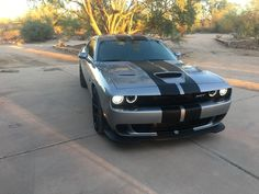 2016 Dodge SRT Challenger Hellcat in Billet Silver with the factory Dual Carbon Stripes