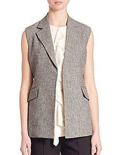 Theory Sedeia Linen Vest - Grey - Size