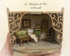 1/48 roombox victoriana con muebles y accesorios sala escena hecha a mano en madera por miniaturas de dollshouse Bea.
