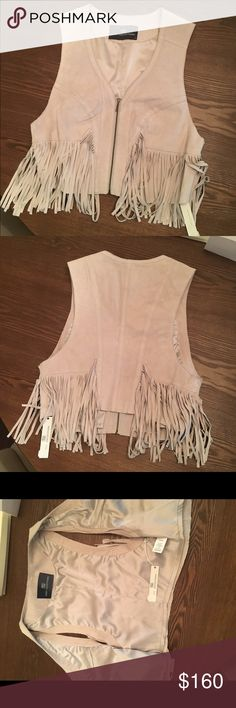 Leather/Suede Tart fringe vest- tan, nude, brown NWT. Never worn. 100% leather. Size small. Originally $240. Muubaa Jackets & Coats