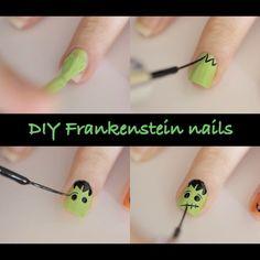 Image via We Heart It https://weheartit.com/entry/80592319/via/13802995 #diy #doityourself #Easy #Frankenstein #Halloween #nail #nailart #nails