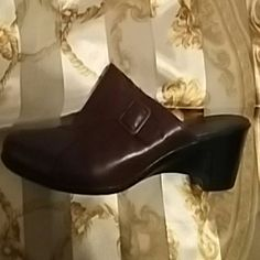 Clark's leather upper shoes Brown leather, slip-on, wedge. Excellent condition. Clarks Shoes Wedges