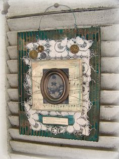 Handmade Altered Art Assemblage Vintage Collage Vintage Altered Mixed Media Antique Tintype Assemblage Vintage Style Victorian Art  Lace