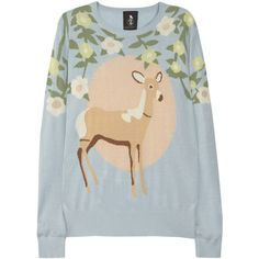Mother of Pearl Silk and cashmere-blend deer intarsia sweater found on Polyvore