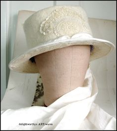 Edwardian Riding Hat in Winter White Felted Wool by delightworthyn, $245.00