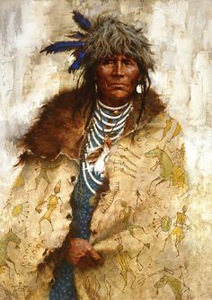Howard Terpning ~ 'Talking Robe' ~ (Talking robes were created to be worn, and those were the only items of clothing on which Native Americans would paint war deeds. Native American Paintings, Native American Pictures, Native American Beauty, Native American Artists, American Indian Art, Native American History, American Indians, Western Artists, Indian Paintings