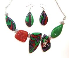 Polymer Clay Maroon Purple and Dark  Green Necklace and by NataPi, $31.00