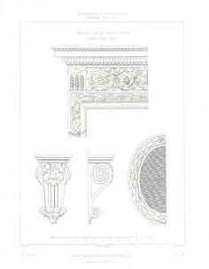 1864 Antique Architectural Print, Details of a Door, Paris
