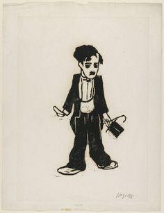 Charlie Chaplin  Friedrich Karl Gotsch (German, 1900-1984)    (1922-23). Woodcut, composition