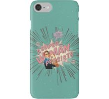 """iPhone Case/Skin - A Super Woman Persists comic book style retro art design was inspired by the anti-trump political resistance movement, along with ridiculous quote of """"She was warned. She was given an explanation. Nevertheless, she persisted"""" by Senate Majority Leader Mitch McConnell when Senator Elizabeth Warren was reprimanded for simply reading the words of Coretta Scott King on the Senate floor. Resist!"""