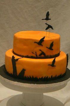 Hunting cake. Homemade shooting cake. Silhouette. Flying ducks.