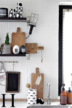 black and wood in the kitchen